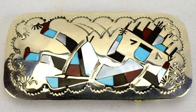 Native American Zuni Sterling Silver Inlay Belt Buckle