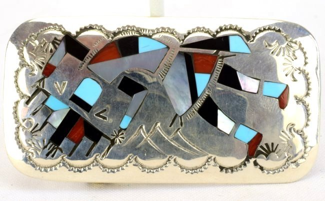Native American Zuni Sterling Silver Inlay Belt Buckle - 3