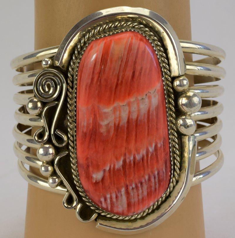 Native American Sterling Huge Spiny Oyster Cuff Bracele