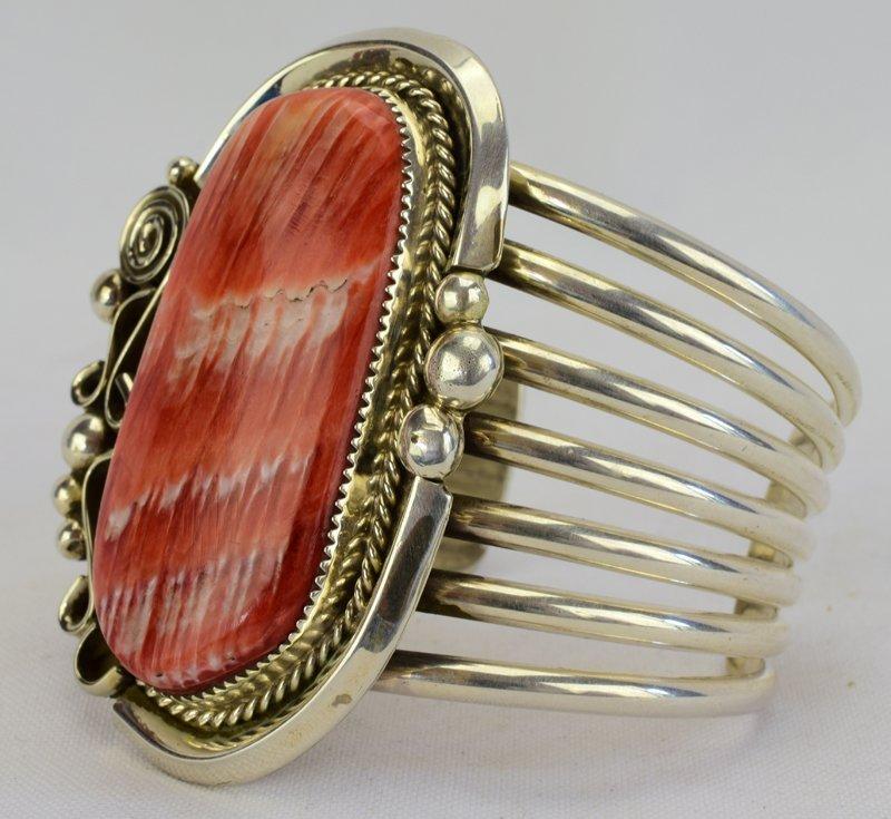 Native American Sterling Huge Spiny Oyster Cuff Bracele - 2
