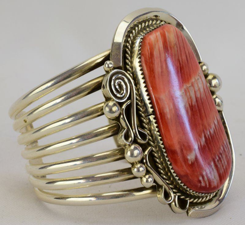 Native American Sterling Huge Spiny Oyster Cuff Bracele - 3