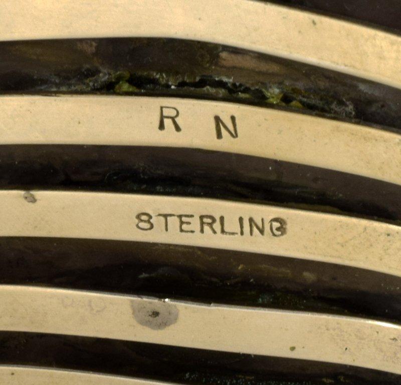 Native American Sterling Huge Spiny Oyster Cuff Bracele - 4