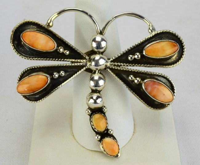 Native American Sterling Spiny Oyster Butterfly Ring