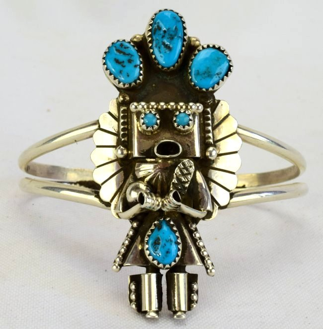 Sterling Silver Navajo Kachina Cuff Bracelet