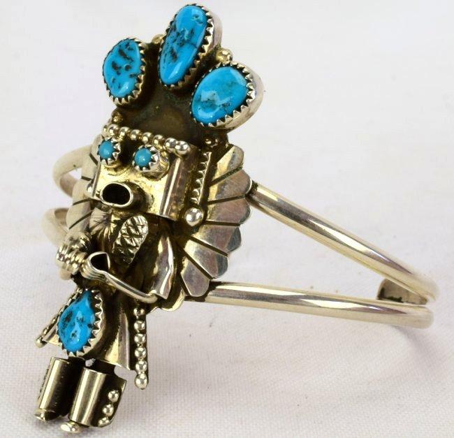 Sterling Silver Navajo Kachina Cuff Bracelet - 3