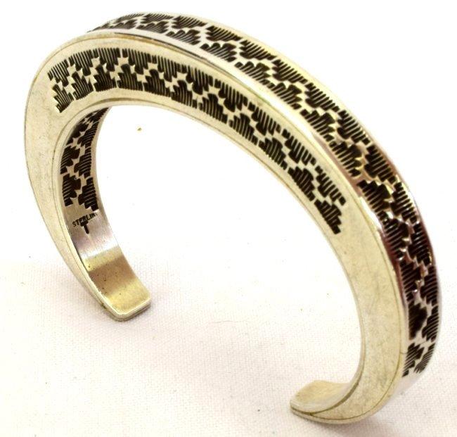 Vintage Sterling Silver Stamped Stack Bracelet-Tahe
