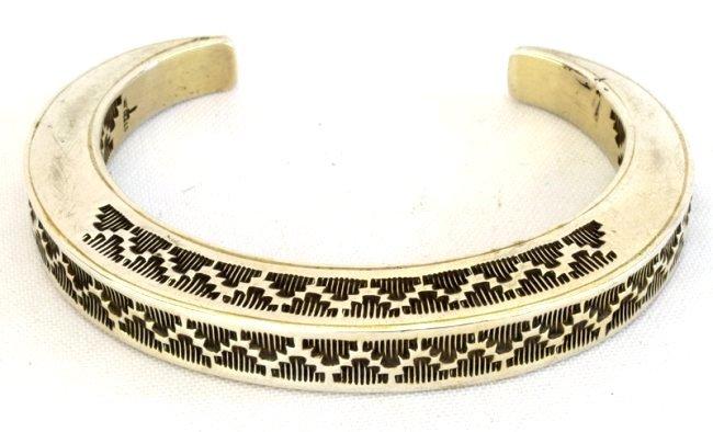 Vintage Sterling Silver Stamped Stack Bracelet-Tahe - 2