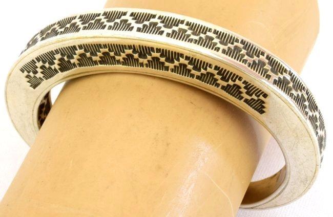 Vintage Sterling Silver Stamped Stack Bracelet-Tahe - 3