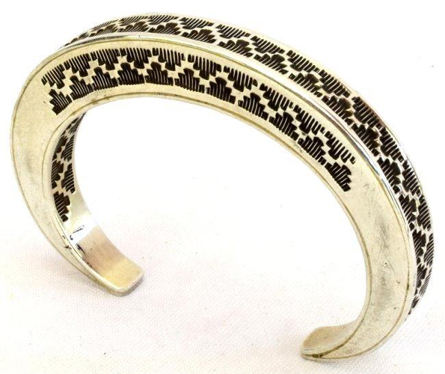Vintage Sterling Silver Stamped Stack Bracelet-Tahe - 4