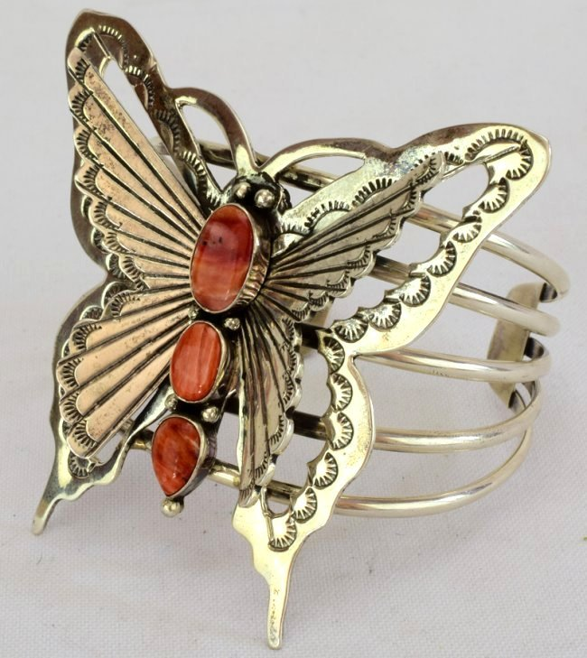 Navajo Sterling Large Butterfly Cuff w/Spiny Oyster - 3