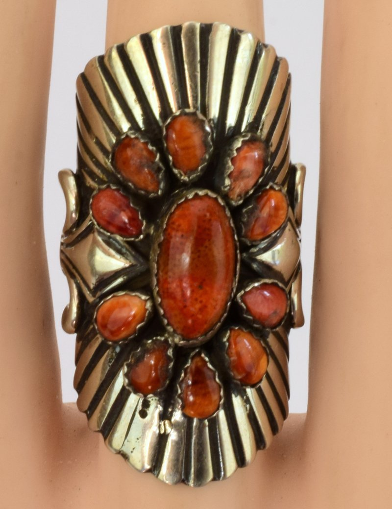 Navajo Sterling Silver Wide Band Spiny Oyster Ring - 4
