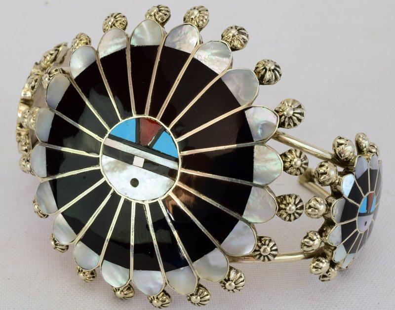 Zuni Sterling Silver Sun Face Cuff Bracelet