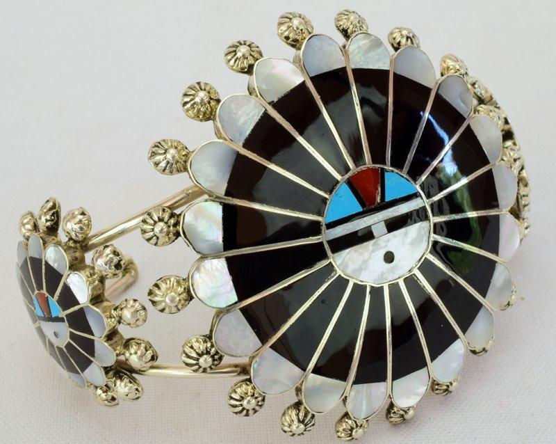 Zuni Sterling Silver Sun Face Cuff Bracelet - 2