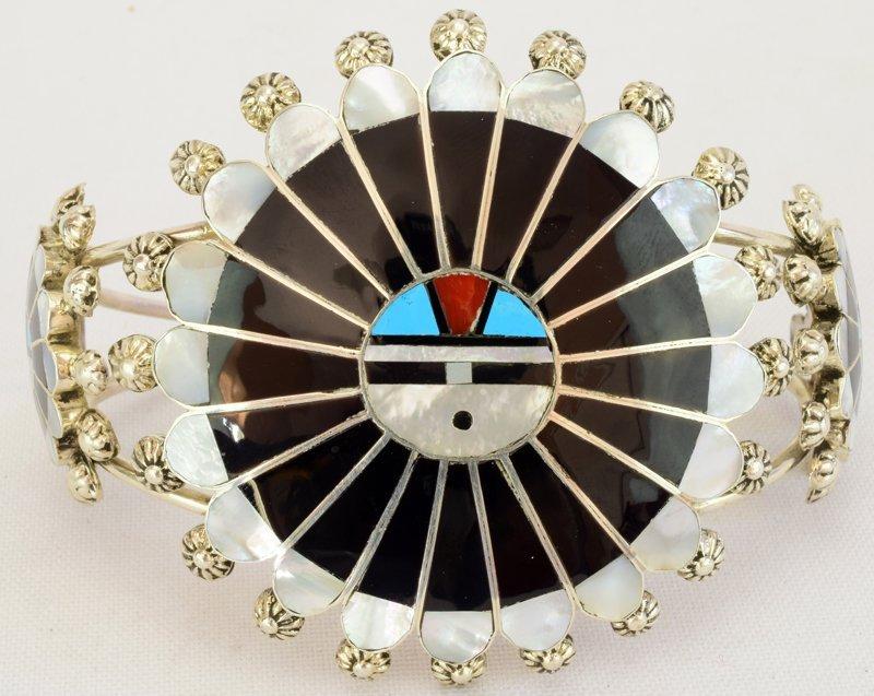 Zuni Sterling Silver Sun Face Cuff Bracelet - 3