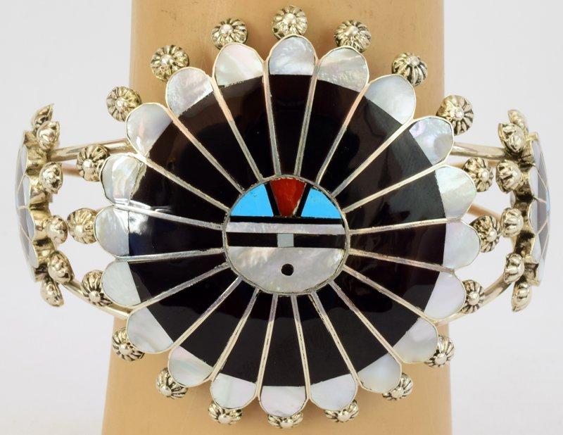 Zuni Sterling Silver Sun Face Cuff Bracelet - 5