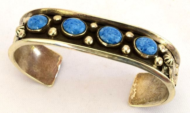 Navajo Sterling Silver Denim Lapis Cuff Bracelet