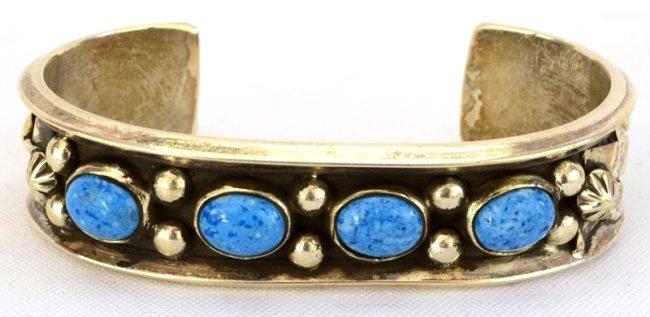 Navajo Sterling Silver Denim Lapis Cuff Bracelet - 2