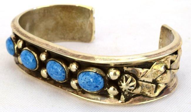 Navajo Sterling Silver Denim Lapis Cuff Bracelet - 3