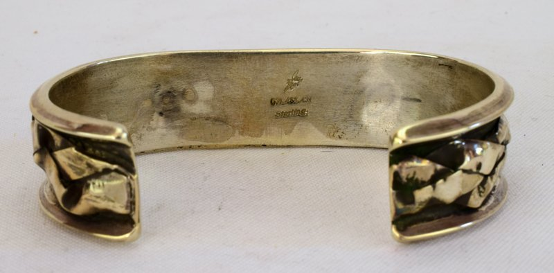 Navajo Sterling Silver Denim Lapis Cuff Bracelet - 5