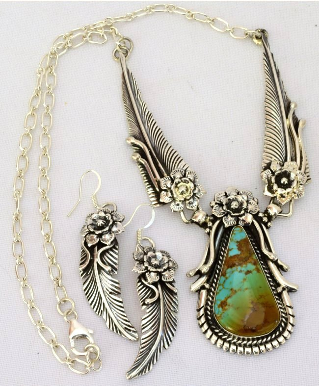 Navajo Sterling Silver Royston Turquoise Necklace Set