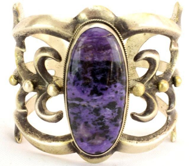 Navajo Large Sterling Sandcast Charoite cuff Bracelet