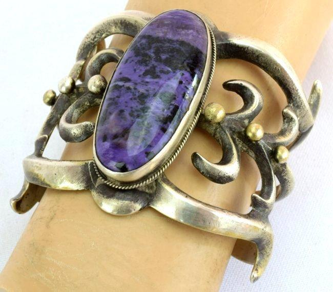 Navajo Large Sterling Sandcast Charoite cuff Bracelet - 5