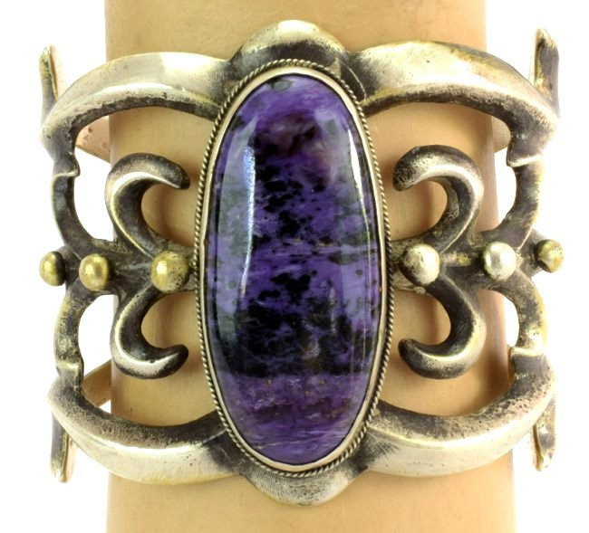 Navajo Large Sterling Sandcast Charoite cuff Bracelet - 6