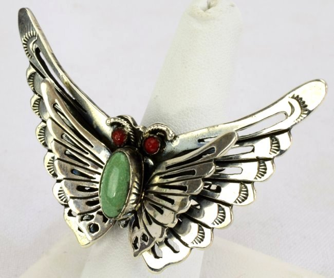 Native American Sterlng Silver Butterfly Ring - 2