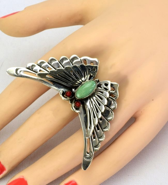 Native American Sterlng Silver Butterfly Ring - 4