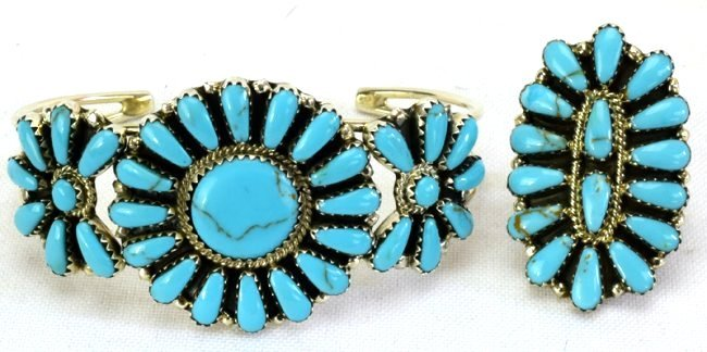Navajo Sterling Turquoise Cluster Bracelet and Ring