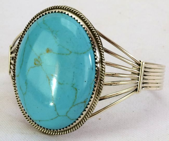 Navajo Sterling Silver Turquoise Cuff Bracelet - 2