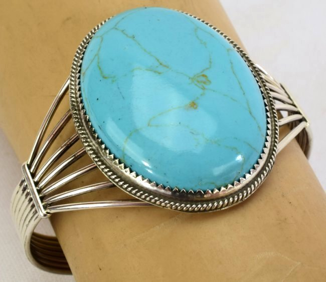Navajo Sterling Silver Turquoise Cuff Bracelet - 4