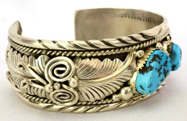 Navajo Sterling Silver Turquoise Cuff Bracelet - 3