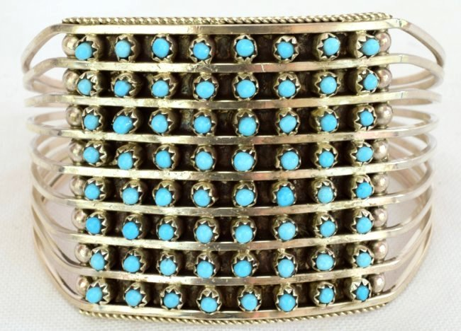 Zuni Sterling Silver Turquoise 8 Row Snake Eye Cuf