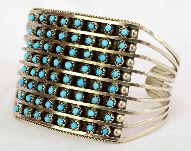 Zuni Sterling Silver Turquoise 8 Row Snake Eye Cuf - 2