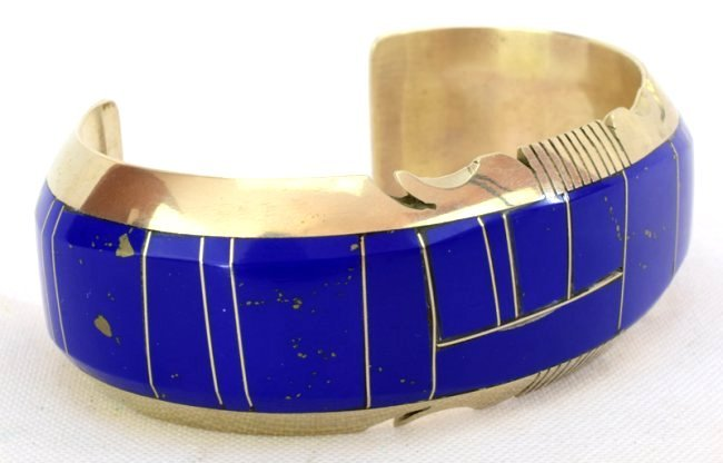 Native American Sterling Inlay Lapis Cuff Bracelet - 2