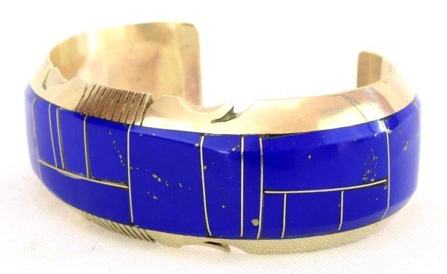 Native American Sterling Inlay Lapis Cuff Bracelet - 3
