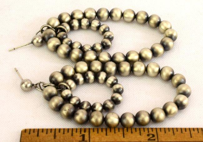 Native American Sterling Silver Navajo Pearl Earrings - 2