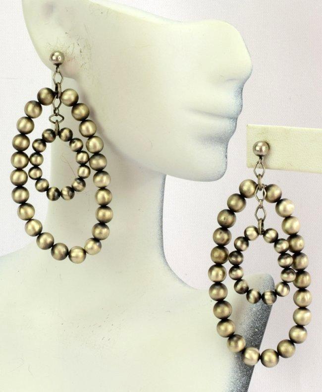 Native American Sterling Silver Navajo Pearl Earrings - 3