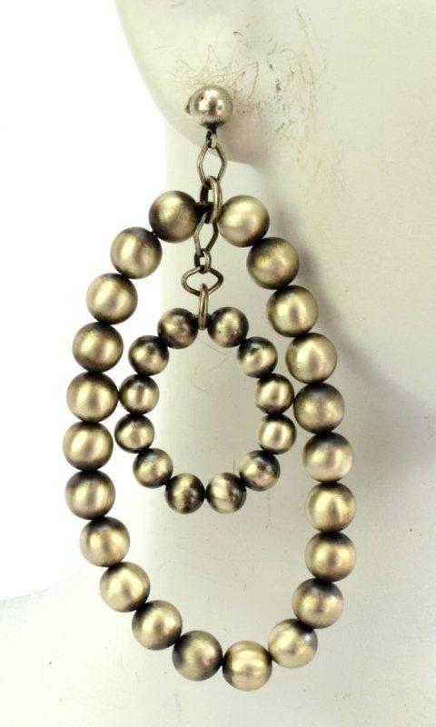 Native American Sterling Silver Navajo Pearl Earrings - 4