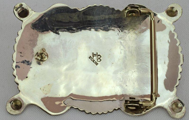 Navajo Sterling Belt Buckle - Hemerson Brown - 3
