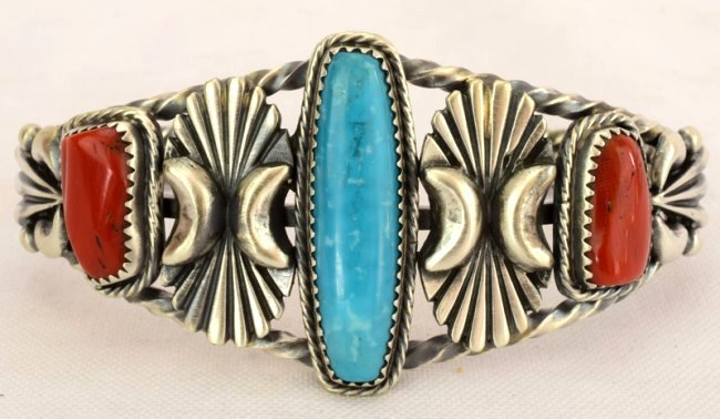 Navajo Sterling Coral & Turquoise Cuff Bracelet