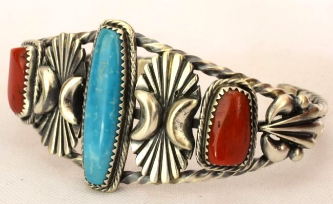 Navajo Sterling Coral & Turquoise Cuff Bracelet - 2