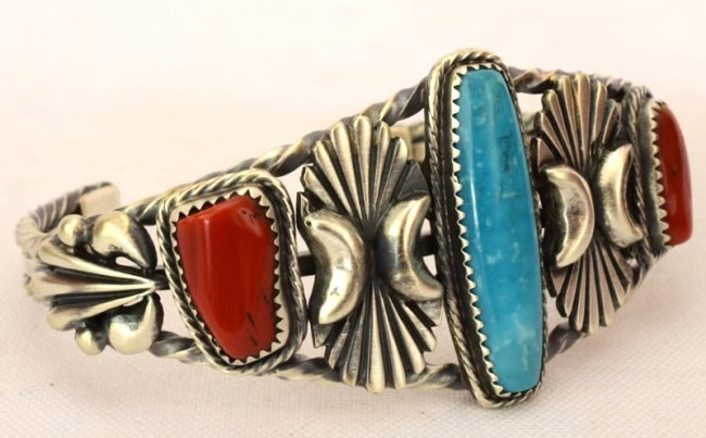 Navajo Sterling Coral & Turquoise Cuff Bracelet - 3