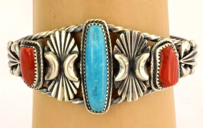Navajo Sterling Coral & Turquoise Cuff Bracelet - 5