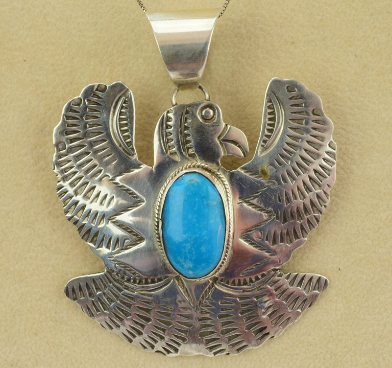 Native American Sterling Thunderbird Pendant
