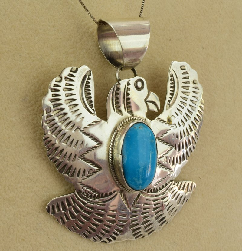Native American Sterling Thunderbird Pendant - 3