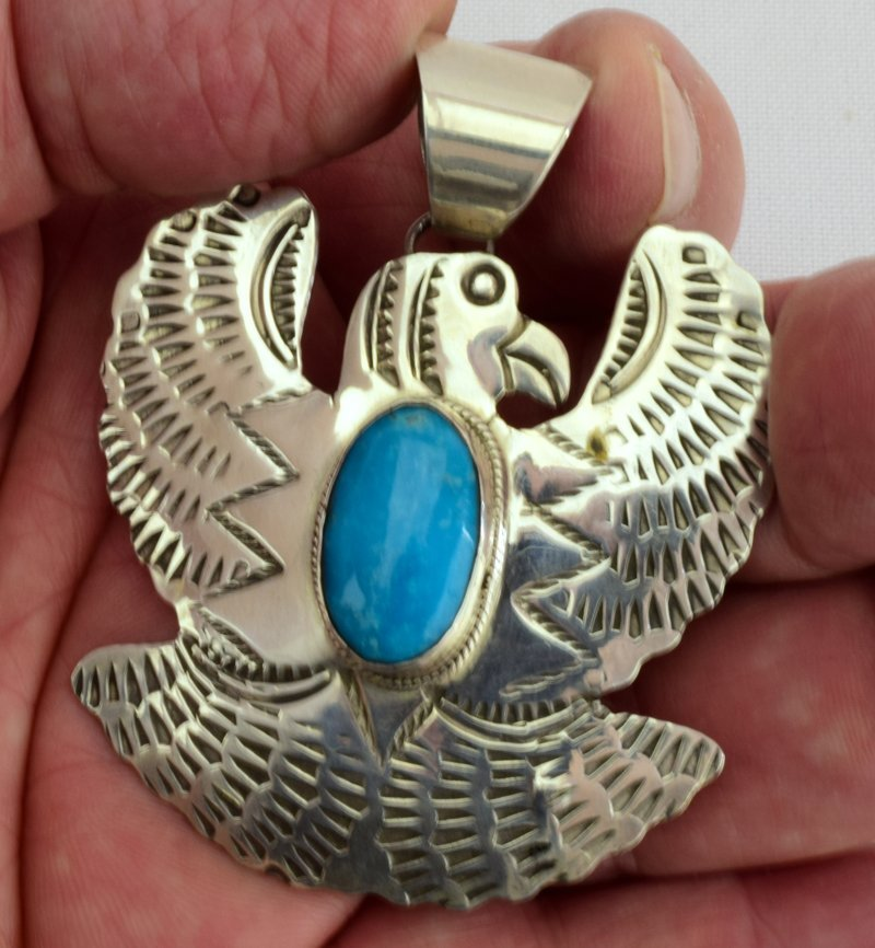 Native American Sterling Thunderbird Pendant - 5