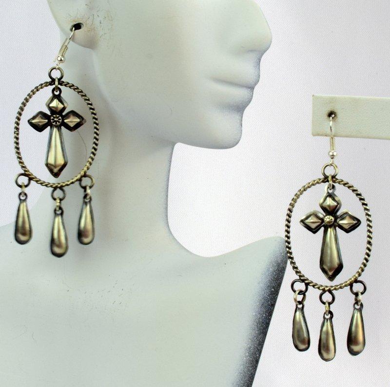 Navajo Sterling Repousse Dangle Earrings - 2