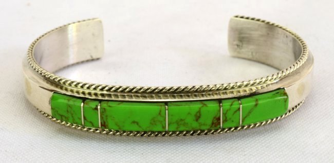 Native American Sterling Gaspeite Inlay Bracelet